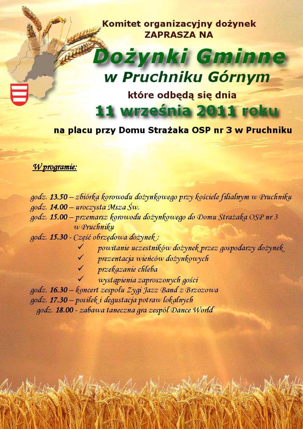 Galeria zdjęć: Zaproszenie na Dożynki Gminne 2011 - Pruchnik Górny