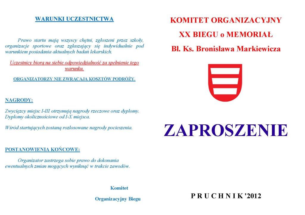 Galeria zdjęć: Zaproszenie na XX BIEG o MEMORIAŁ Bł. Ks. Bronisława Markiewicza