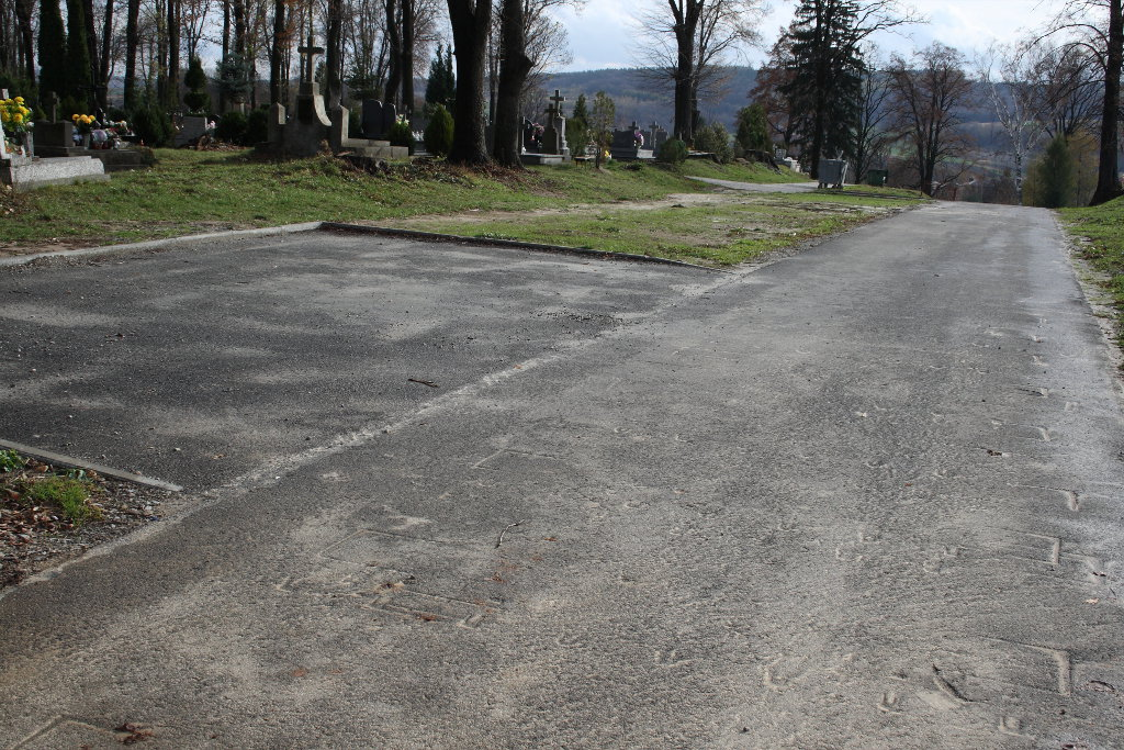 Galeria zdjęć: Droga wewnętrzna na cmentarzu komunalnym w Pruchniku