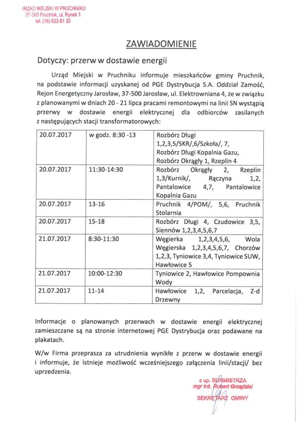 Galeria zdjęć: Informacja o przerwach w dostawie energii elektrycznej dla mieszkańców Gminy Pruchnik.